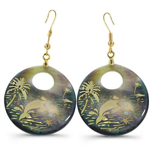 Shell Pearl Earrings - Dolphin Inspired Design
