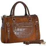 MG Collection BRANDI Brown Faux Crocodile Bowling Style Handbag / Shoulderbag