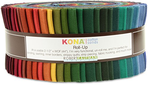 Robert Kaufman Kona Cotton Solids New Dark Jelly Roll Up, 41 2.5x44-inch Cotton Fabric Strips