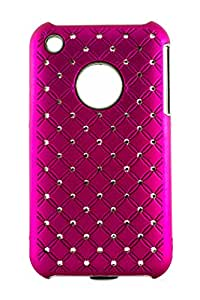 Purple Eyes Sparkling Studed Glossy hard back case for Apple iphone 3G Dark Pink