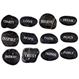Engraved Inspirational Black Stones (12 Different Words- Large 2 - 3 Inches ) from the Holy Land