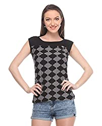 Wearsense Women's Top (Black and White, Medium)