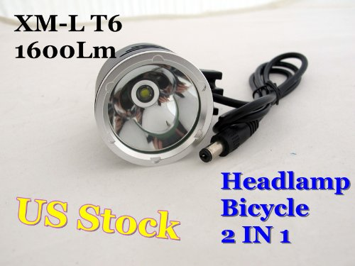 1600Lm CREE XM-L T6 LED Bike Bicycle Light HeadLight Lamp Flashlight Headlamp US