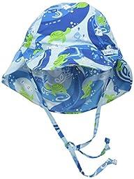 i play. Baby Boys\' Flap Sun Protection Print Hat, Blue Turtle Batik, 0-6 Months