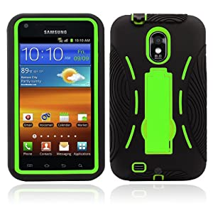 Premium Heavy Duty Hybrid Case (Outer Silicone + Inner Hard Protector Case w/ Kickstand) Galaxy S2 Sprint Samsung Epic Touch 4g (Model SGH D710) - Black and Green (MagicMobile Charm Gratis)
