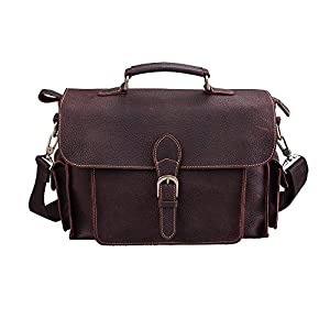 S-ZONE Genuine Leather Mens Messenger Briefcase Office Tote Bag Fit 13 Inch Laptop