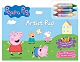 Childrens Kids Peppa Pig Giant Artist Pad Colouring Crayons 50 Stickers Travel