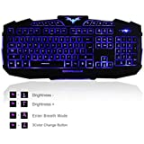 BlueFinger® New Design Three Color Backlighting Backlit with Rose Red Blue Gaming Keyboard Black + BlueFinger Customized Gaming Mouse Pad as Gift
