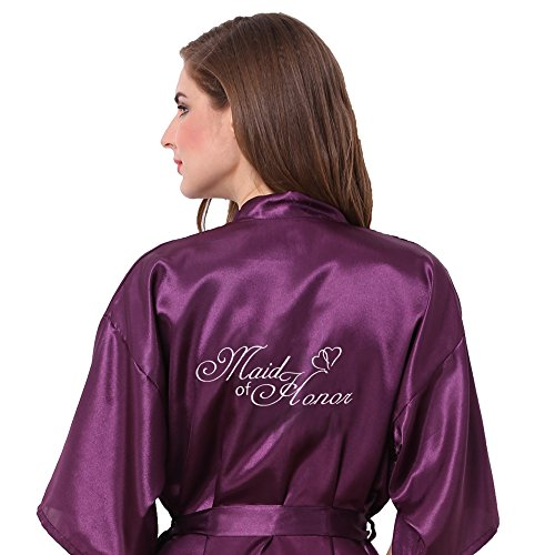 Joytton Women's Satin Kinono Robe with Embroidered Maid of Honor Dark Purple M