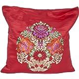 True-Red Banarasi Cushion Cover With Hand-woven Flower Vase - Satin Silk - Weaver Kasim Family, Bana