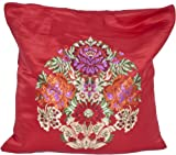 True-Red Banarasi Cushion Cover with Hand-woven Flower Vase - Satin Silk - Weaver Kasim Family, Bana