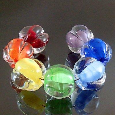Premium Handmade Lampwork 7 Glass Beads Set [Fruit=Colorful Garlic=Sra] - Free Shipping