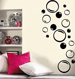 Set of 36 - Bubble Vinyl Wall Decal (Bubbles Great for Bathroom)