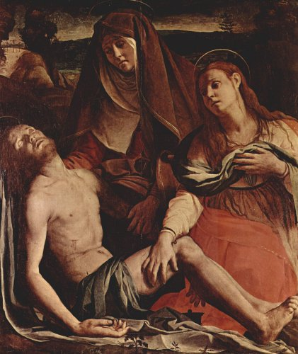Artisoo The Dead Christ with the Virgin and St. Mary Magdalene - Oil painting reproduction 30'' x 25'' - Agnolo Bronzino