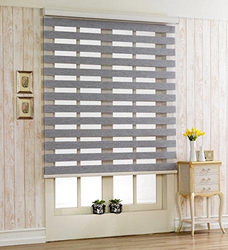 Custom Cut to Size , [Winsharp Woodlook , Grey , W 71 x H 72 (Inch)] Horizontal Window Shade Blind Zebra Dual Roller Blinds & Treatments , Maximum 91 Inch Wide by 103 Inch Long