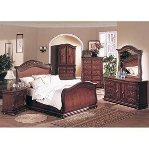 Florence Sleigh Bedroom Set In Distressed Dark Cherry Size Queen Bedroom