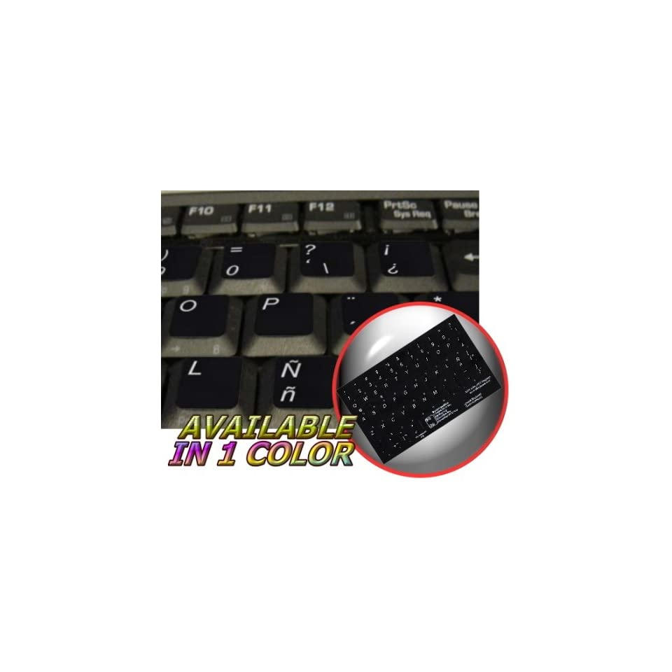 SPANISH (LATIN AMERICAN) NON TRANSPARENT KEYBOARD STICKER FOR LAPTOP, DESKTOP WITH WHITE LETTERING AND BLACK BACKGROUND