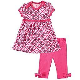 Hudson Baby Baby-Girls Dress and Legging Set, Pink, 9-12 Months