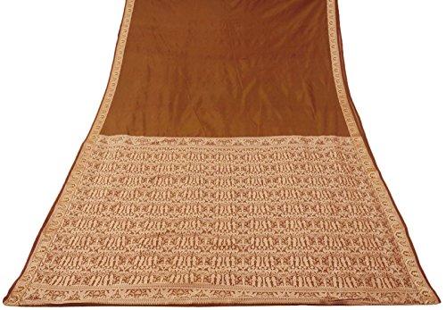 tessuto-antico-indiano-arte-vintage-silk-saree-sari-brown-craft-intrecciata-donne-sarong