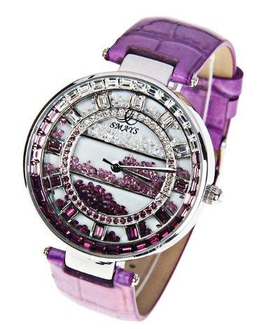 c7c658dd739c2 Women Purple Amethyst Colored Swarovski Crystal Accented Gold Luxury ...