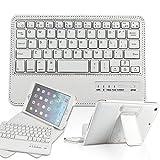 Ipad  Mini 4 ケース キーボード 分離可能 PopSky™ 【 TELEC認証】【全3色】Ipad  Mini2/Mini3/Mini4ライチ紋専用 Bluetooth3.0搭載 ワイヤレスブルートゥースキーボードケース、キーボード付き 高級PUレザーケース自動スリープ機能付きとスタンド機能付き Bluetooth keyboard case (ipad mini 4, ホワイト)