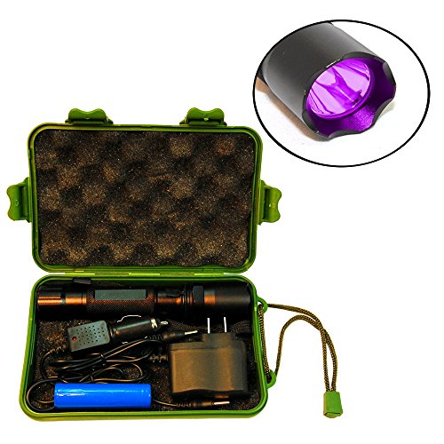 Hqrp Complete Kit: Professional Power 3W 365 Nm Uv Flashlight With Chargers And Battery For Gemstone And Mineral Inspection / Identification / Fluorescence Plus Hqrp Uv Meter