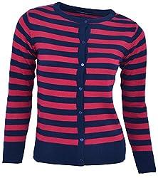 Ogarti Women's Wool Cardigan (O1018, Navy/Red)