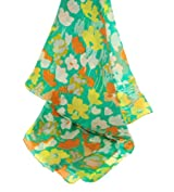 Aqua Print Silk Scarf