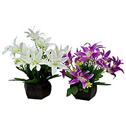 Thefancymart Desktop set of 2 artificial Lilly Flower arrangement with wood pot for decoration