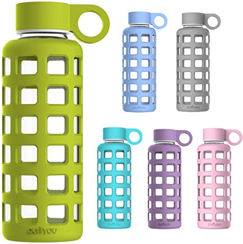 Premium Glass Water Bottle with Silicone Sleeve, By purifyou - Made From Borosilicate Glass, Insulated, Light Weight, Portable, BPA Free, Leak Proof & Reusable - Small and Great for Kids, Hot & Cold Tea, Home & Kitchen, Sports, Fitness, Camping, Outdoors