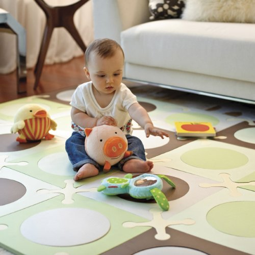 Sale!! Skip Hop 20 Piece 70x56 PlaySpot Floor Mat, Green/Brown