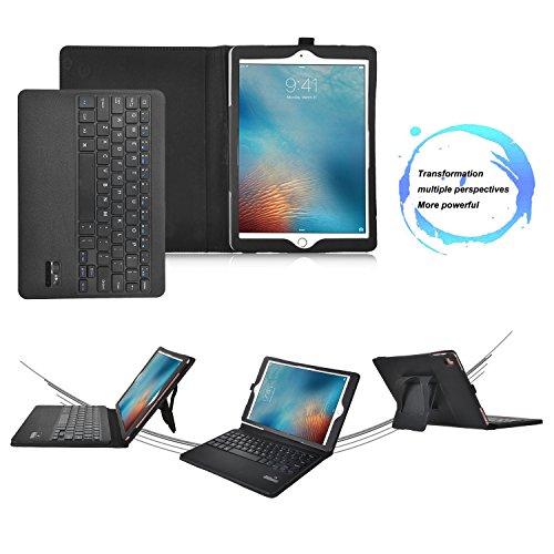 IVSOiPad air 2ケース, iPad air 2キーボードカバー 開閉で自動的 PUレザーケース マグネット着脱可能iPad air 2専用 一体型Bluetoothワイヤレスキーボード(ブラック2)