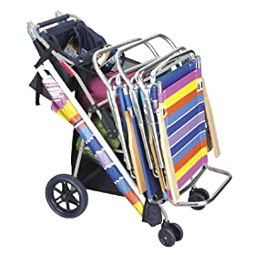Deluxe Wonder Wheeler Beach Cooler & Beach Chair Cart 2009 Wide Wheels