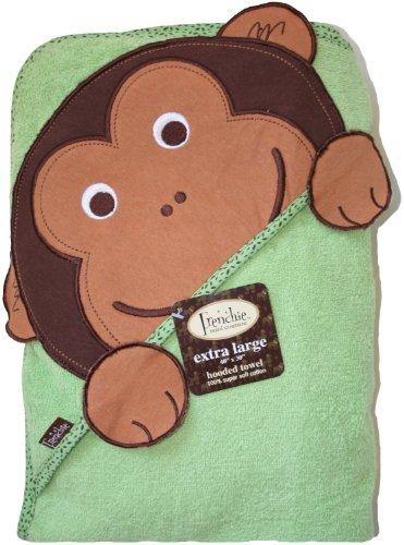 Frenchie Mini Couture - Asciugamano con cappuccio, assorbente, motivo scimmietta, taglia xl, 100 x 75 cm