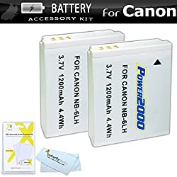 2 Pack Battery Kit For Canon PowerShot SX260 HS SX260HS Canon PowerShot SX280 HS SX280HS SX500 IS SX500IS SX510 HS SX510HS SX170 IS S120 SX600 HS SX700 HS D30 Digital Camera Includes 2 Extended Replacement (1200Mah) NB-6L Batteries + More