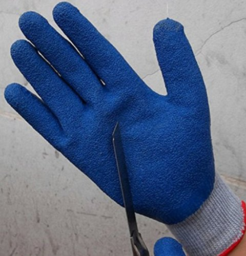 3個セット! 防刃 手袋 刃物に強い 切れにくい 軍手 防護 アンチカット グローブ (青白カラー)