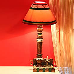 ExclusiveLane Dhokra & Warli Handpainted Wooden Lamp In Mango Wood