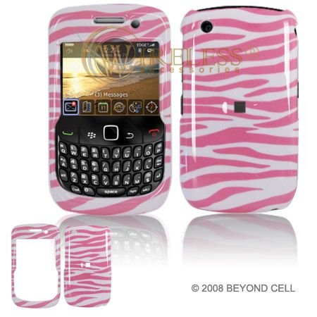 BlackBerry Gemini 8520/Curve 8530 Cell Phone Pink/White Zebra Design Protective Case Faceplate Cover