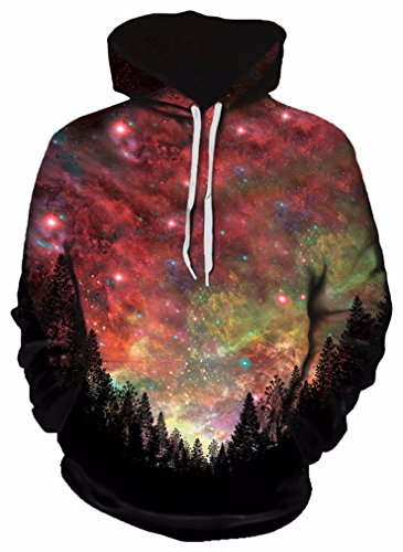 Gratefully Dyed Rasta Woods Hoodie – Premium All Over Print Graphics – Large