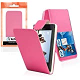 iTechCover® - Sony Xperia Miro ST23i Hot Pink Leather Flip Case Cover