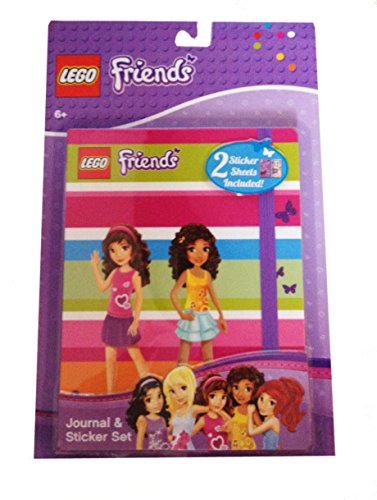 Lego Friends Striped Journal & Sticker Set Featuring Olivia & Andrea Silhouette Cover - 1