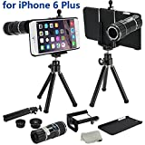 12x Black 4 in 1 Camera Lens Kit Set Manual Focus with Tripod 3 Quick-Connect Lens Solution Fisheye Lens Macro Lens Wide-angle Lens 1 Universal Holder 1 Mini Tripod 1 Protection Case 1 Microfiber Digital Cleaner - for Apple iPhone 6 + Plus 5.5""