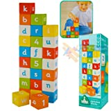 ELC WOODEN ALPHABET BLOCKS MULTI COLOURED LETTERS NUMBERS FOR AGES 12 MONTHS+
