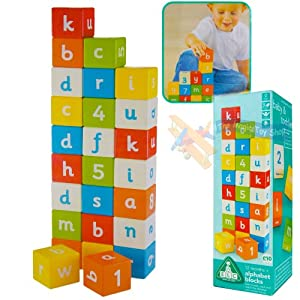 elc wooden alphabet blocks multi coloured letters numbers. Black Bedroom Furniture Sets. Home Design Ideas