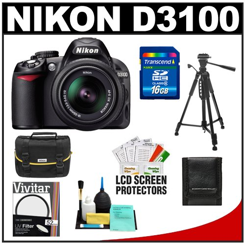 Nikon D3100 Digital SLR Camera & 18-55mm VR Lens with 16GB Card + Filter + Case + Tripod + Accessory Kit