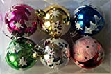 Art with Emphasis Plastic Christmas Tree Design Ball Hanging (7 cm x 7 cm, Set of 6)