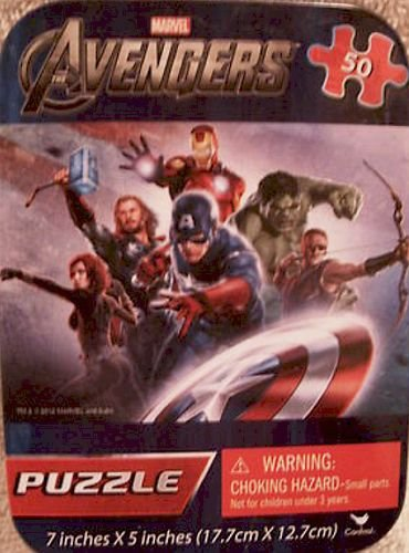 "Marvel Avengers 50pc Mini Puzzle in Tin Box 7""x5"" - 1"