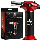 Kitchen Torch for Crème Brulee- Home & Chef Cooking butane Torch. Safety Lock & Adjustable Two Types of Flame. For Pastries, Desserts, Flaming Cocktails, Camping and More. Bonus – 2 Recipe eBooks. (Color: Black/Red)