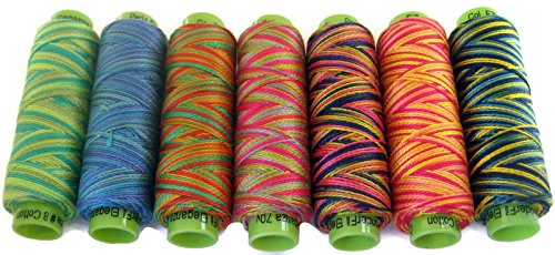 Best Price! Sue Spargo Eleganza #8 Perle Cotton Collection for Embroidery/Embellishment (7 Spools, Indian Silk Summer)