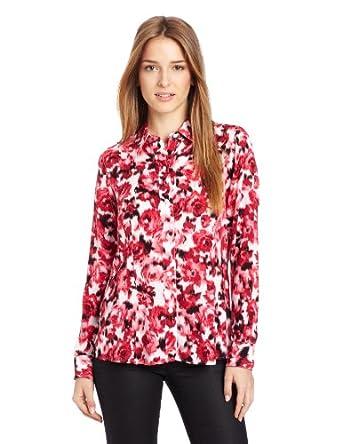 Foxcroft Women's Ikat Rose Print Shirt, Tulip, 10